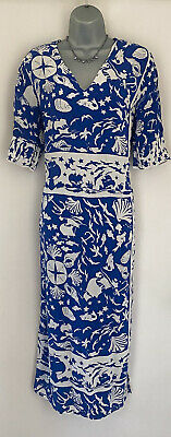 £9.25 • Buy And & Other Stories Blue/white Sea Print Calf Length Dress Size 12 (VGC)