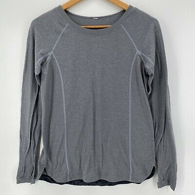 $ CDN19.35 • Buy Lululemon Athletic Top Women's Size 4 Gray Long Sleeve Striped