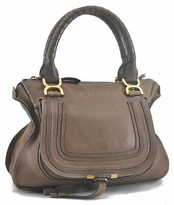 $ CDN314.48 • Buy Authentic Chloe Mercy Leather Hand Bag Brown C6201