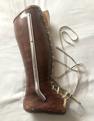 £189.99 • Buy Vintage Rare Medical Ankle Leg Leather Laced Boot Brace Early Century 1920/30s