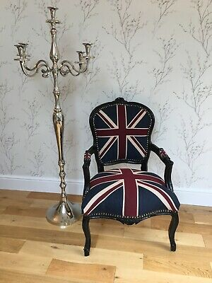 £145 • Buy French Louis Style Shabby Chic Chair Union Jack With Black Frame
