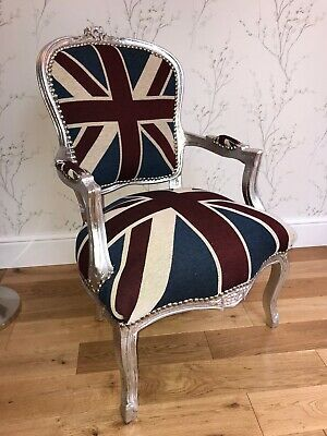 £145 • Buy French Louis Style Shabby Chic Chair Union Jack With Silver Frame