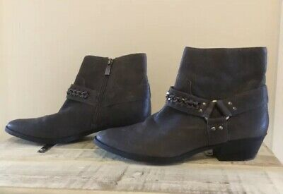 £15 • Buy Vince Camuto Grey Leather Boots Buckle Strap Biker Cowboy Western Ankle  6 39