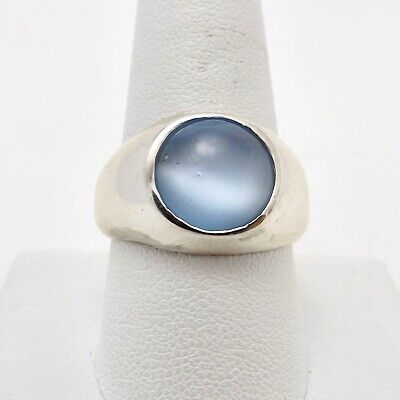 $89 • Buy Vintage Sterling Silver Blue Chalecedony Cats Eye Mens Ring Sz10