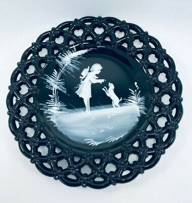 $20 • Buy Vintage Westmoreland Mary Gregory Black Milk Glass Hand Painted Plate