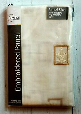 £9.99 • Buy Pavilion Embroidered Panel Fern Voile Curtain 59  X 90  Cream/Gold Ready To Hang