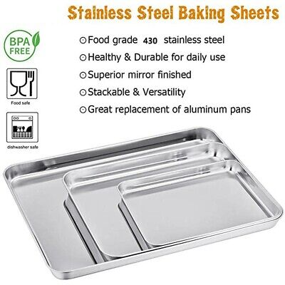 AU30.80 • Buy Stainless Steel Baking Sheets Chef Cookie Sheets Baking Pans Toaster Oven Tray