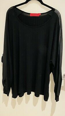 AU7.25 • Buy Boohoo Black Blouse Top Stretch With Wet Look Sleeves Inserts Size 20