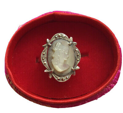 £9.99 • Buy Vintage Cameo Ring Marcasite Continental 925 Carved Shell Lady Size P / Q