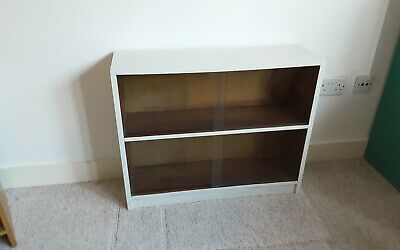 £5 • Buy Vintage Glass Fronted Bookcase - Has Been Painted Cream Top And Sides