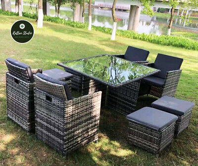 £479 • Buy Cube Rattan Furniture Set Chairs Sofa Table Outdoor Patio Wicker 8 Seater