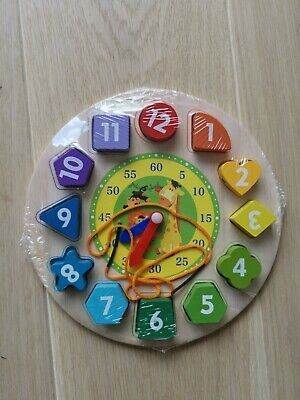 £5 • Buy Kids Wooden Clock Learning Puzzle With Number Shapes Educational Toys Boys Girls
