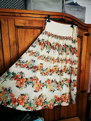 £2 • Buy Beautiful Ladies Monsoon Size 8 Long Maxi Floaty Floral Cream Beige Skirt Coral