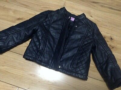 £6.99 • Buy 9-12 Months Baby Girl's Faux Black Leather Biker Jacket By F&F