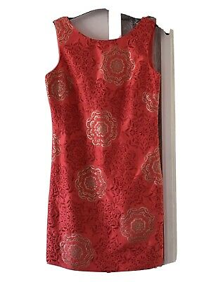 £5 • Buy Stunning MONSOON Shift Dress In Coral With Sequin Applique Detail - Size 12.
