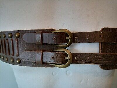 £11.50 • Buy Unusual Double Buckled Cowboy Leather Belt