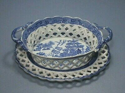 £135 • Buy Antique Pearlware  Willow Pattern Pierced Chestnut Basket And Stand C1800