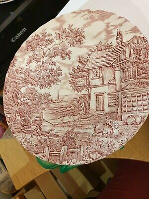 £7 • Buy Pink & White 10  Ceramic Plate, 'The Hunter By Mayott' (1982)