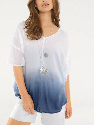 £6.99 • Buy Ladies Sheer WHITE/BLUE Ombre Kaftan Top - Size 8 To 12