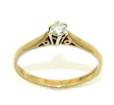 AU314.65 • Buy Ladies/womens 9ct Gold Engagement Ring Set With A Solitaire Diamond, UK Size O