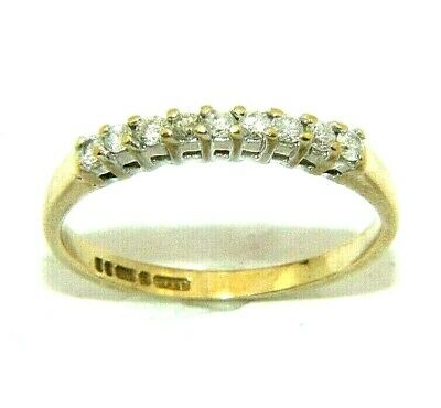 AU478.66 • Buy Ladies/womens 9ct Yellow Gold Half Eternity Ring Set With Diamonds, UK Size K