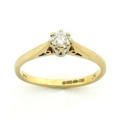 AU518.71 • Buy Ladies/womens 9ct Gold Engagement Ring Set With A Solitaire Diamond, UK Size N