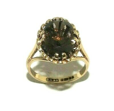 AU257.45 • Buy Ladies/womens 9ct Yellow Gold Vintage Ring Set With A Smoky Quartz UK Size M 1/2