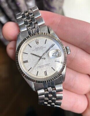 $ CDN6671.89 • Buy Vintage Rolex Datejust 1601 70s Automatic Silver Linen Dial Oyster Case Watch