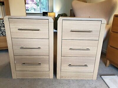 £68 • Buy TWO Hygena Strand Faux Oak 3 Drawer Bedside Table Chest Of Draws Bedroom Curved