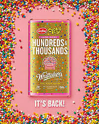 £7.99 • Buy Whittakers Limited Edition Hundreds & Thousands Chocolate Block (250g)