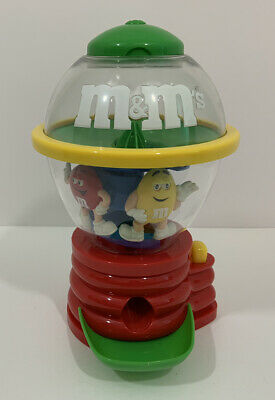 $13.99 • Buy M&M's Fun Machine Candy Dispenser Red And Yellow Spins With Green LID No Box