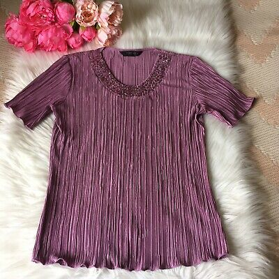 £7 • Buy Women's, Forever By Michael Gold, Size Medium, Purple Top, Beaded Neck, Crinkle.