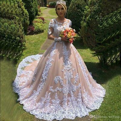 $ CDN205.68 • Buy Champagne Ball Gown Wedding Dresses Long Sleeve Appliques Plus Made Bridal Gown