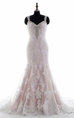 $ CDN180.95 • Buy Plus Mermaid Wedding Dresses Beaded Appliques Lace Backless Bridal Gowns Custom
