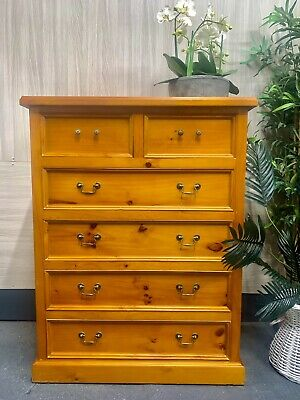AU180 • Buy Solid Timber 6 Six Drawer Tallboy ~ Chest Of Drawers ~ Bedroom Dresser ~ 125cmH