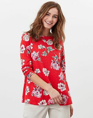 £20.95 • Buy Joules Womens Harbour Light Swing Long Sleeve Jersey Top - Red Floral