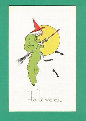 $ CDN54.45 • Buy Vintage Pink Of Perfection Halloween Postcard Witch Rides Broom Full Moon Bats