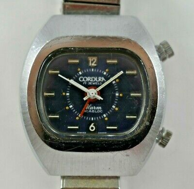 $ CDN84.68 • Buy Vintage Swiss Made Cordura Wrist Alarm Manual Wind Wrist Watch Runs Lot.e