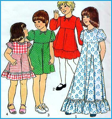 £6.29 • Buy Vintage 70s GIRLS DRESS Sewing Pattern Chest 24  Age 5 RETRO Bridesmaid PARTY