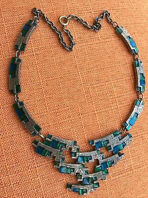£55 • Buy Vintage Miracle Necklace, Modernist, Choker, Blue & Green Glass, Signed
