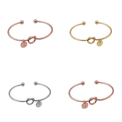£2.24 • Buy Girl Bangle Flower Letter Bridesmaid Personalized Bracelet Initial Knot Beauty