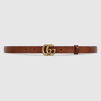 AU321.94 • Buy Gucci Skinny Leather Belt With Double G Buckle, Sz 80, Brown