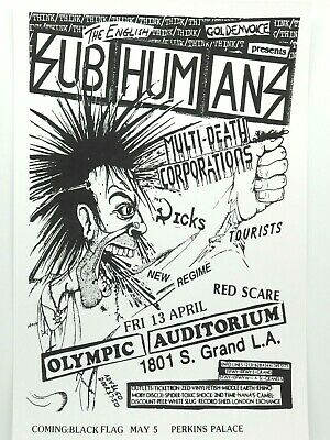 $14.95 • Buy Subhumans Mdc Dicks At The Famous Olympic Auditorium Punk Rock Concert Poster