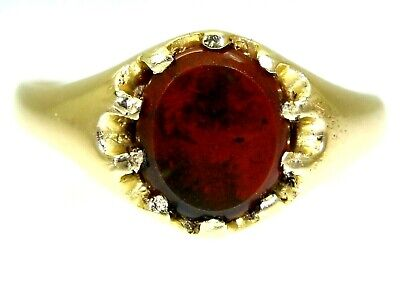 £446.25 • Buy Victorian 1886 Piastra Bloodstone 18ct Yellow Gold Signet Ring Q ~ 8 1/4