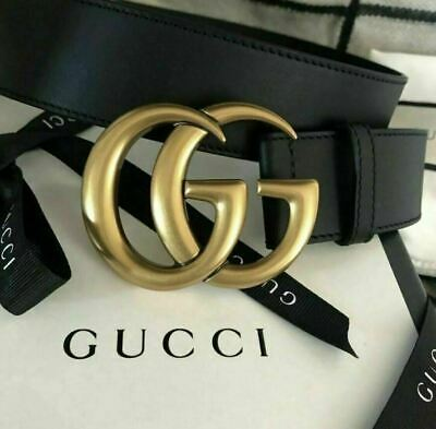 AU141.65 • Buy GUCCI Belt GG Gold Buckle Authentic Genuine Black Leather Size 40 115cm Italy