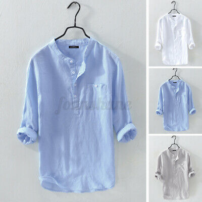 £11.49 • Buy Men's 3/4 Sleeve Linen Cotton Tops Formal Smart Shirts Holiday Beach Blouses Tee
