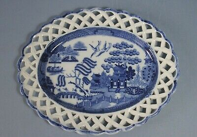 £45 • Buy Antique Pearlware Willow Pattern Pierced Stand C1800