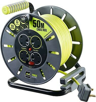 £48.95 • Buy MasterPlug 50m Socket Cable Reel Extension Lead 4 Gang Cassette Electrical