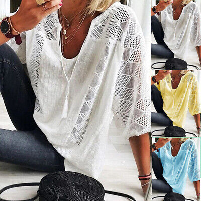 £15.99 • Buy Women 3/4 Sleeve Cut Out Lace Shirt Loose Casual Solid Pullover Thin Tops S-5XL