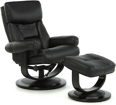 £500 • Buy Risor Bonded Leather Recliner Swivel Chair And Stool - Black